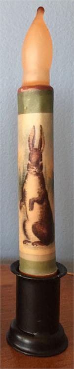 Standing Brown Hare LED Candle Green Border