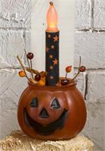 Pumpkin with LED Candle and Berry Ring