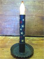 "Taper Candle 6"" LED Blue W/Ivory & Red Stars"